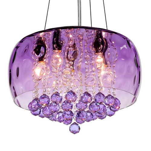 餐廳燈具led水晶吊燈現代簡約客廳燈創意臥室燈書房燈飾d231藍紫色